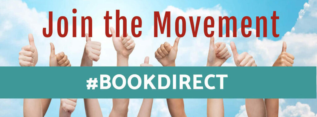 """Thumbs up image with the verbage, """"Join the Movement #BOOKDIRECT"""